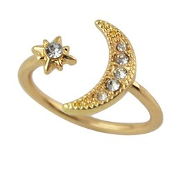 Wholesale Star Punk Rings - Moon and Star Gold Silver Color Alloy White Rhinestone Punk Style Party Rings New Fashion Designer Bijoux Women