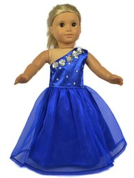 Wholesale Japanese Doll Latex - 18 inch Fashion Purple Lace Doll Dress American Girl Clothes with Shining Accessories Evening Party Dress