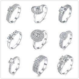 Wholesale Diamond Zircon Crystal Rings - 925 Sterling Silver Plated Rings Zircon Round Heart Charms Rhinestone Swarovski Crystal Rings Wedding LOVER Ring Gift Size 7 & 8