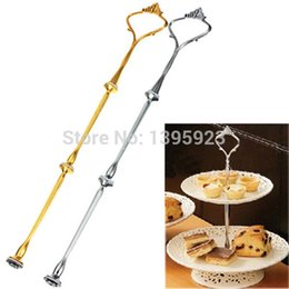 Wholesale Cake Stand Handles Fittings Wholesale - 3 or 2 Tier Cake Plate Stand Handle Crown Fitting Rod Wedding Party Free Shipping