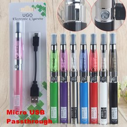 Wholesale Charging Electronic Cigarette - eGo T CE4 Single Vaporizer Blister Pack Starter Electronic Cigarette Kits with 650mAh UGO Micro USB Evod Pass Through Battery Charge by side