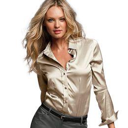 Wholesale Ladies Silk White Tops - S-XXXL women satin silk blouse button ladies silk satin blouses shirt White Black Gold Red long sleeve satin blouse top