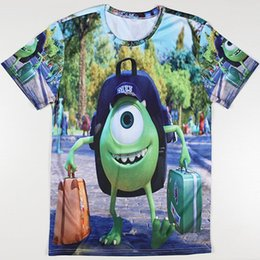 Wholesale University T Shirt Xl - Wholesale-Free Shipping Men Summer New Tshirts Funny Cartoon Monster University Print T-shirts How To Train Your Dragon Casual T Shirts