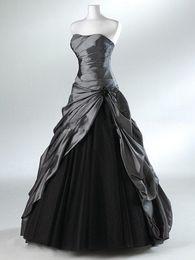 Wholesale Actual Images Dresses - Purple And Black Ball Gown Gothic Wedding Dresses for Brides Strapless Grey Floor Length Actual Picture Bridal Gowns Vestidos de Novia