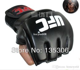 Wholesale Free Mma Gear - Free shipping MMA boxing gloves extension wrist leather half fighting fighting Gloves