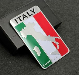 Wholesale Fiat Sticker 3d - Car Styling 3D Aluminum Italy Map National Flag Car Sticker Decal For Fiat Iveco Lamborghini Alfa Romeo DeTomaso Maserati Zagato