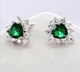 Boucles d'oreilles bleues en Ligne-Stock 2016 pas cher Blue Green Beaded Crystals boucles d'oreilles nuptiales Red Clear strass mariée boucles d'oreilles cristaux ensembles de bijoux de mariage accessoires