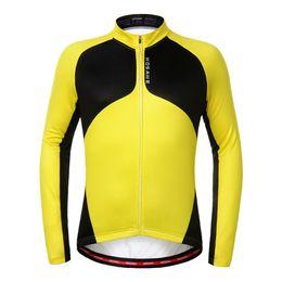 Abrigo largo térmico online-WOSAWE Hombres Thermal Fleece Cycling Jersey Calentador a prueba de viento Bici de manga larga Ciclismo Wind Coat ropa deportiva