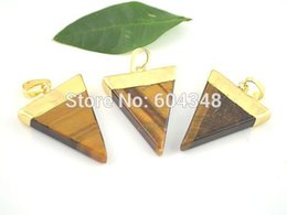 Wholesale Triangle Shaped Jewelry - 5pcs Triangle shape Tiger Eye Druzy Gem Stone Healing Chakra Pendant Bead Charms Fit Jewelry Necklace