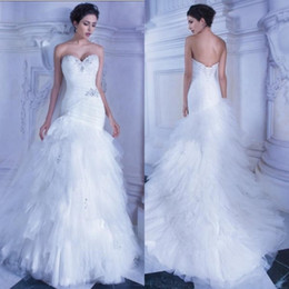 Wholesale Demetrios Mermaid Dresses - Applique Wedding Mermaid Dresses Demetrios Fall 2015 Sweetheart Neckline Trumpet Lace-up Pleats Bodice White Tulle Mermaid Wedding Gowns