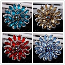 Wholesale Corsage Brooch Women - women charms blue gold red Diamond brooches Gold Tone Clear Rhinestone Crystal Big Glass Drop Brooch corsage high-grade crystal Jewelry