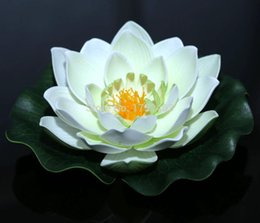Wholesale White Calla Lily Artificial Flowers - estive Party Supplies Decorative Flowers Wreaths 3 Pieces White Artificial Foam Lotus flowers Water Lily Floating Pool Plants Garden wedd...