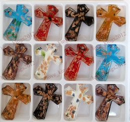 Wholesale Cross Murano Necklace - FREE Wholesale Gold foil Murano Glass Cross Pendant Fashion Jewelry 60*48MM