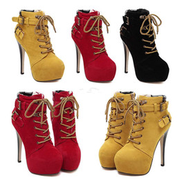 Wholesale Trendy Lace Up Ankle Boots - Trendy Stiletto Heel Platform Boots With Buckles Lace Up High Heels Boots Add Plush Winter Size 35 to 40