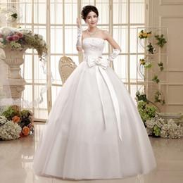 Vestito dalla corea che spedice liberamente online-Il modo nuziale sexy senza bretelle della Corea di modo di trasporto libero sposa il vestito da cerimonia nuziale della sposa con il grande bowknot vestidos HS052