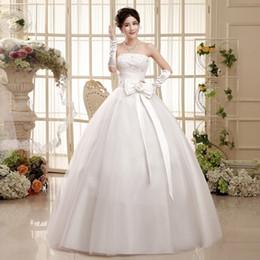 Wholesale Custom Dress Korea - Free shipping weddingdress fashion Sexy Diamond strapless Korea style the bride wedding dress with big bowknot vestidos HS052