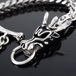 Wholesale Dragon Bracelet Women - racelet stand FUNIQUE Gothic Punk Men Bracelet Antique Silver Stainless Steel Dragon Head Pattrern Chain Bangle Bracelets Women Jewelry 2...