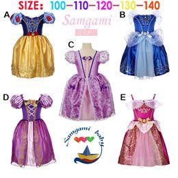Wholesale Sleeved Gauze Dress - 2015 New Arrivals Frozen Elsa and Anna Cinderella Princess Dress girl Summer Gauze short sleeved lace dress Kids Party Dress C001