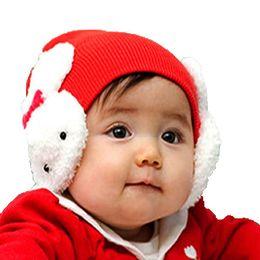 Wholesale Little Girls Knitted Hats - Baby Girls Autumn Winter Knitted Beanies Children Kids Cute Little Rabbit Earmuffs Earflap Hats Ear Protection Cap MZ0178