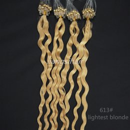 "Wholesale Lightest Blonde Micro Loop Hair - Indian hair 16""-26"" 40g 50g 70g 100s 613# Lightest Blonde Deep Wave Loop Micro Ring Hair Extensions 100 Brazilian Remy Human Hair"