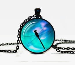 Wholesale Glass Dragonfly Pendant - JLN Dragonfly Pattern Pendant For Gift Time Gems Cabochon Glass Dome Alloy Necklace For Man Woman