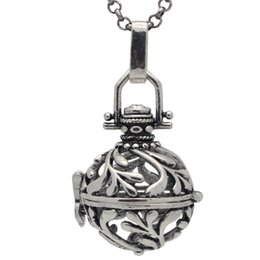 Wholesale Essential Olive Oil - Free Shipping 10PCS lot Antique Silver World Peace Olive Branch Plant Bell Locket Cage Aromatherapy Essential Oil Diffuser Chain Necklace