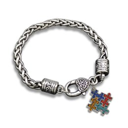 Wholesale Circle Puzzle - 10pcs lot zinc alloy antique silver plated crystal autism puzzle charm bracelet