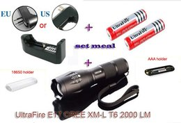 Wholesale Low Cost High Flashlight - Cost Price UltraFire E17 Touch Cree XM-L T6 2000 Lumen XML LED Light Zoomable Life Waterproof Flashlight+2*Battery + Charger
