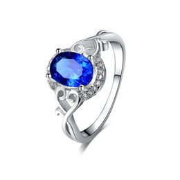 Wholesale Sapphire Ring Sets - Sapphire white gold plated jewelry luxury wedding Rings for Women CZ diamond Engagement Bague Bijoux accessories MSR156