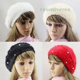 Wholesale Wholesale Stylish Winter Hats - Wholesale-Stylish Fashion Women Winter Warm Rabbit Fur Snow Beanie SKI Hat Cap Beret Angora Pearl New