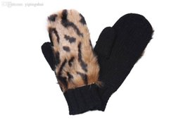 Wholesale Leopard Hat Gloves - Wholesale-2015 Popular Fashion Leopard elements gloves Knitted with Brown Faux Fur mitten woman Female Girls winter warm