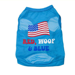 Wholesale Large Easter Flags - New Dog summer clothes pet American Flag T shirt printing T-shirt ,Dog Clothes,Dog Shirtfor small animals pet apparel Free shipping