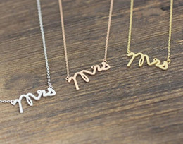 Wholesale Letter Initials Word Pendant - 10PCS- N111 Gold Silver Simple Dainty Mrs Necklace Small Stamped Word Initial Necklace Simple Love Alphabet Letter Necklaces