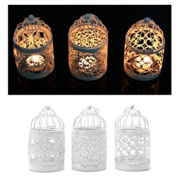 Wholesale White Hanging Lanterns - 3 Types Metal White Holder Tealight Candlestick Hollow Hanging Lantern Bird Cage Vintage Wrought Candle Holders New
