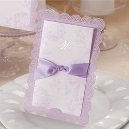 Wholesale purple wedding invitation envelopes - Wholesale- Invitaciones De Boda 2015 Light Purple Free Personalized Printing Laser Cut Lilac Wedding Invitations with Ribbon Envelope Seal
