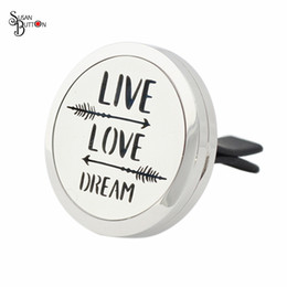 Wholesale Love Magnetic Necklace - Newest 30mm Silver Magnetic Live Love Dream Locket Stainless Steel Aromatherapy Locket Essential Oil Diffuser Perfume Car Locket Jewelry
