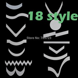 Wholesale Nail Art Halloween Stencils - Free Shipping 100pcs Lot French Manicure Nail Art Tips Form Fringe 18 Styles Guides Sticker DIY Stencil