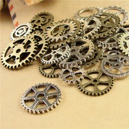 Wholesale Mixed Charms Metal Bronze - 100 piece Mixed Vintage steampunk Charms Gear Pendant Antique bronze Fit Bracelets Necklace DIY Metal Jewelry Making A3845