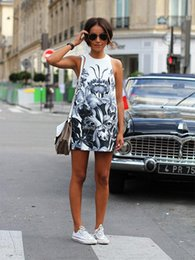 Wholesale Loose Dress Styles - 2016 beautiful and fashion simple mini dress Print Sleeveless O-Neck summer dress causal and loose style high quanlity