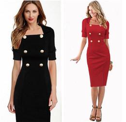 Wholesale Wear Work Fashion Wholesale - 2016 US Women Work Wear Dresses Ladies fashion Button casual dress 1 2 sleeve Bodycon Dress Pencil Dresses