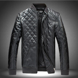Wholesale Cheap Leather Motorcycle Jacket - Fall-Cheap High Quality men leather jacket Black Brown Faux Leather Motorcycle Jacket Mens Stand Collar Chaquetas Winter jacket M-5XL