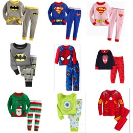 Wholesale Men Cotton Sleepwear - 2105 boys girls Spider-Man super man set children's clothing full pants +shirts Pajamas Baby Kids Sleepwear cotton shirt suit Pijamas