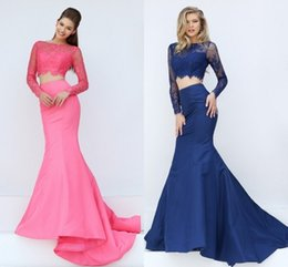 Wholesale Discounted Pageant Dress Beading - Discount Sheer Neck Prom Dresses Long Sleeves Pleated Two Pieces Women Pageant Dress 2016 V Back Party Formal Evening Gown Beaded Appliques