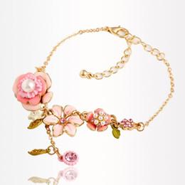 Wholesale Chain Link Inserts - Sweet Wedding Party Fashion Girl's Insert Pearl Bracelets Alloy Pink Flower Colorful Gem Pearl Zircon Bracelet For Women PT36