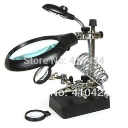 Wholesale Track Light Stand - Helping Hand Soldering Stand With 3 Lens LED Light Magnifier Magnifying Glass order<$18no track