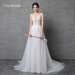 Wholesale Detachable Beach Wedding Gowns - Sexy Beaded Deep Cleavage Wedding Dress with Detachable Skirt Illusion Tulle Layer Beach Outdoor Light Bridal Gown
