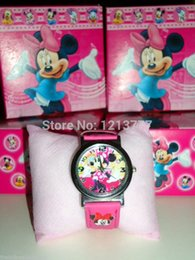 Wholesale Minnie Watch Box - Free Shipping 5 pcs lot Minnie Mouse watch, Children Watch with box,birthday gift for children