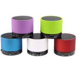 Wholesale Wholesale Mini Beatbox Speakers - S10 Metal Mini Portable BeatBox Hi-Fi Bluetooth Wireless Speaker TF Slot Handfree Mic Stereo Portable Speakers For Phone iPad DHL EMS Free