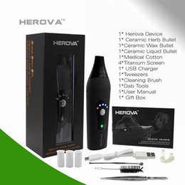 Wholesale Herb Ceramic Heating Chamber - Herova v3 Vape pen Dry Herb wax Eliquid 3 in 1 Vaporizer E Cigarette Kit Ceramic Coils Heating Chamber 2200mah Herbal pen