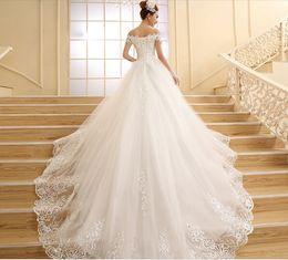 UK long sleeves wedding dress princess - vestido de novia 2016 New Bride Princess Lace Embroidery Beading Long Royal Train Plus Size Luxury Wedding Dresses Sexy lprom party dresses